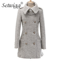 SETWIGG תערובת צמר עיבוי חורף אופנה בינוני מעיל מעיל מעילים זוגי חזה Pocket אריג צמר לולאה SG37