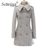XXL Plus Size Fashion Solid Grey Black Women S Winter Coats Double Breasted Wool Dress Overcoats