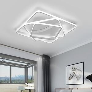 Image 2 - Modern led Chandelier for Living room Bedroom Aluminum Wave Rectangle circle lustre Chandelier Lightin high ceiling Chandelers