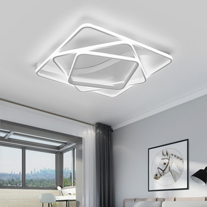 Image 2 - Moderne led Kronleuchter für wohnzimmer Schlafzimmer Aluminium Welle Rechteck kreis lustre Kronleuchter Lightin hohe decke Chandelers