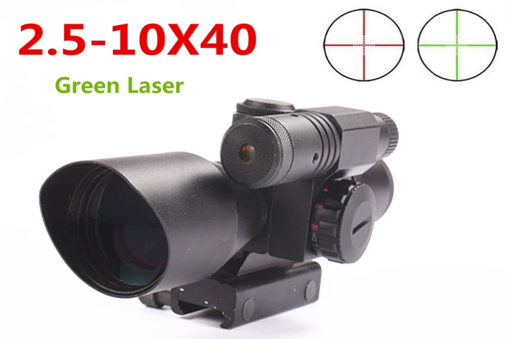 MIZUGIWA Tactical Rifle Illuminated 2.5-10x40 Red Green Mil-dot Scope Green Laser Sight 20mm Rail Mount Weaver Riflescope Caza hunting combo metal green dot laser sight led flashlight 200lm 3w with 20mm rail weaver picatinny for glock 17