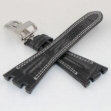Venda de reloj de 28 mm negro nuevo Mens genuino de la alta calidad reemplazo reloj de cuero correa de bandas pulseras