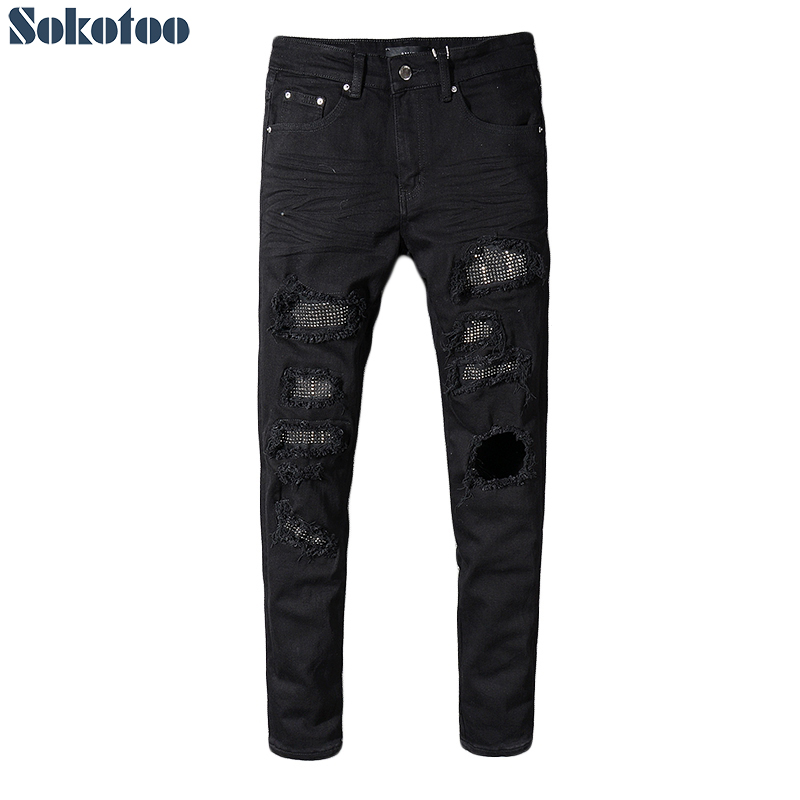 Sokotoo Men's Slim Skinny Crystal Rhinestone Patchwork Ripped Jeans Fashion Patch Black Stretch Denim Pants