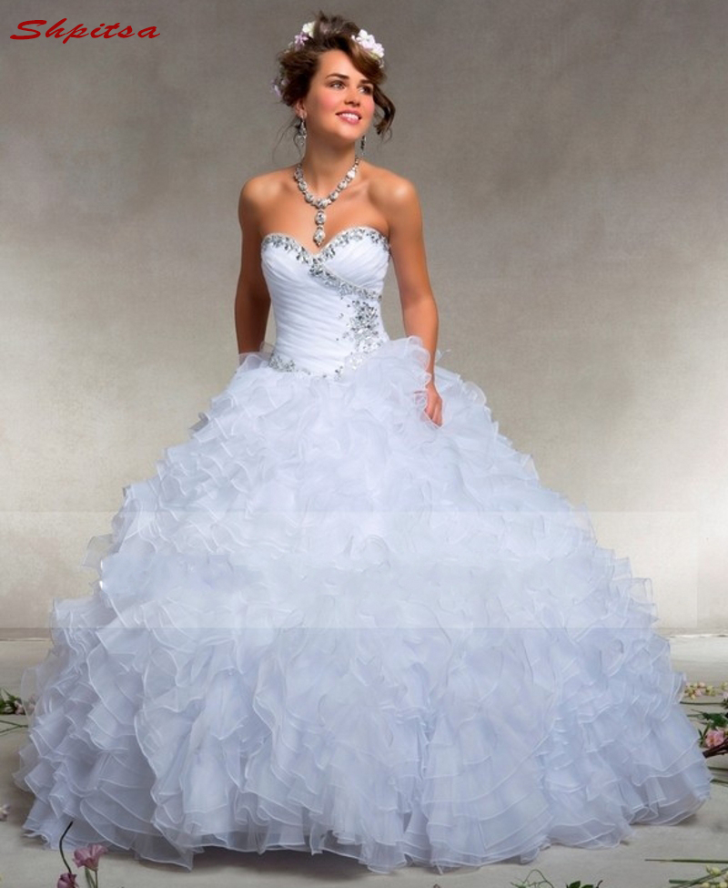 White Mother of the Bride Dresses for Weddings Ruffle Ball Gown Sexy Evening Gowns Groom Godmother