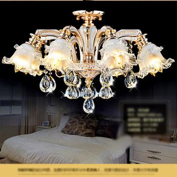 Złoty kryształowy żyrandol k9 kryształowy żyrandol led do jadalni nabłyszczania para sala de jantar lustre de cristal teto tanie i dobre opinie VITRUST Pokrętło przełącznika Nowoczesne Żarówki led W górę ROHS Żyrandole iron Modern Chandeliers Lighting chandelier Lamp LED