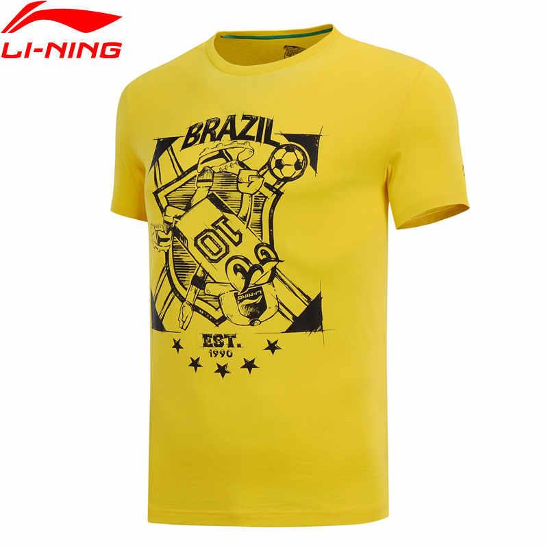 (Break Code) li-Ning Mannen De Trend T-shirt 100% Katoen Regular Fit Ademende Voering Li Ning Sport Tee Tops AHSN183 MTS2774