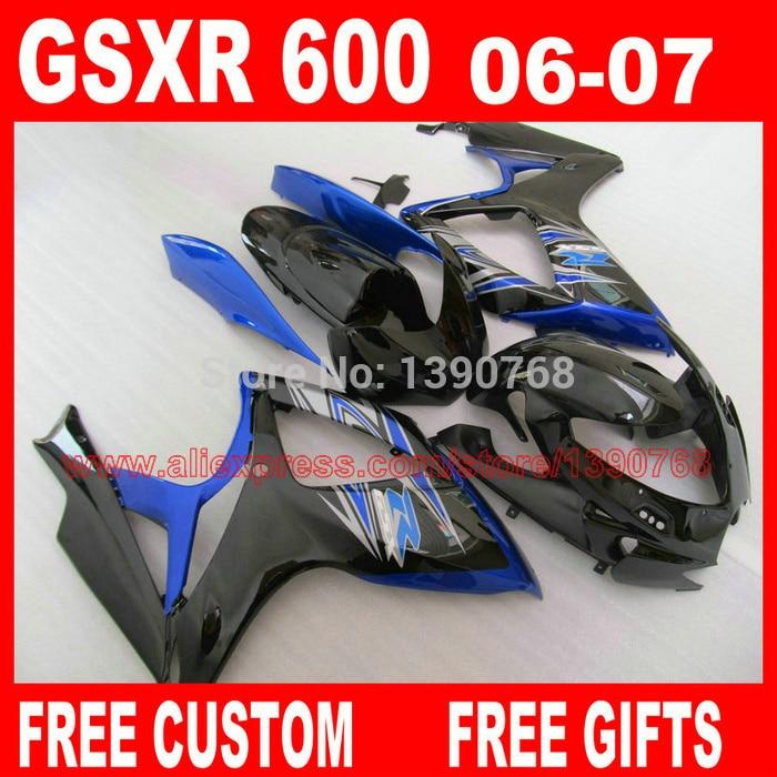 Fairing kit for SUZUKI K6 gsxr600 gsxr750 06 07 blue black aftermarket GSXR 600 GSXR 750 2006 2007 fairings set CB31 fairings set for 2006 2007 suzuki gsxr600 gsxr750 06 07 purple black fairing kit gsxr600 gsxr750 k6 vf71