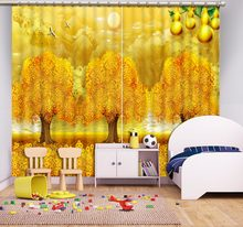 stereoscopic Rich tree curtains for living room bedroom home windows customize blackout curtains(China)