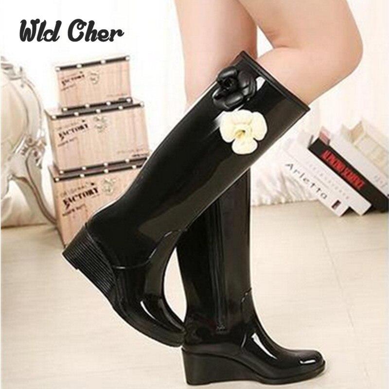 New Women Fashion Back Bowtie Platforms Wedges Rain Boots Mid-calf Waterproof Flower Water Shoes Woman Side Zipper Rainboots