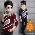 Crianças camisola de Outono Inverno Quente Knitting Malhas Meninos de Manga Longa O-pescoço Camisola Do Bebê Além de Veludo Engrossar Outwear Pullover