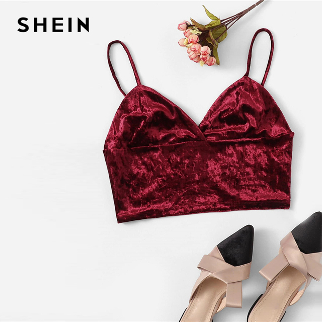 01a92f3e59 SHEIN Burgundy Solid Velvet Bralette Cami Top Spaghetti Strap Crop Women  Party Sexy Vest 2019 Autumn Slim Fit Top Vests