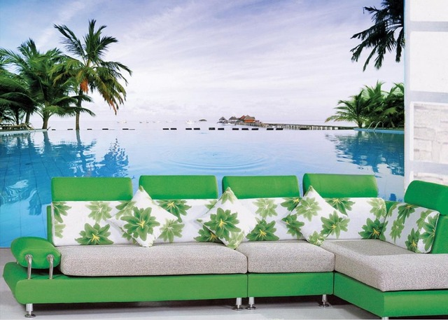 Mural 3d Wallpaper Beautiful Beach Scenery Tree Photo Custom TV Setting Wall Of Sitting