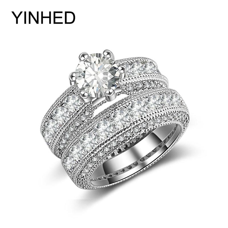 YINHED Luxury 2ct Round Cubic Zirconia Wedding Ring Set