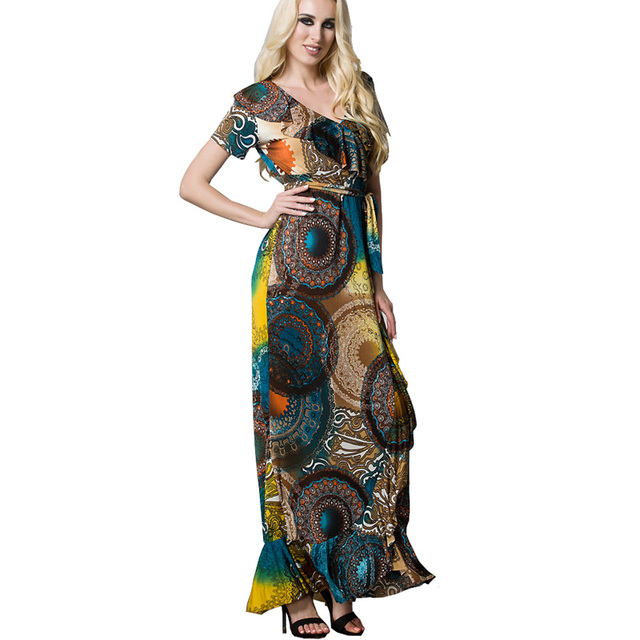 European Women Floral Maxi Dress Wheel Print Belt Ruffle V Neck Oversized  Muslim Long Dress Plus Size Feminino Robe Longue Jurk a4956de628f3