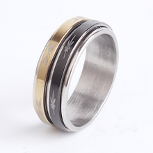 a3d0f8a43475 8mm doble círculo giratorio de patrón al azar 316l de acero inoxidable  anillos de dedo para los hombres y las mujeres al por may.