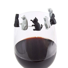 Силиконовые маркеры для бокала вина, белый, черный, кот, котенок, котенок, вечерние метка на чашку, чашка для питья, идентификация, стеклянные подвески