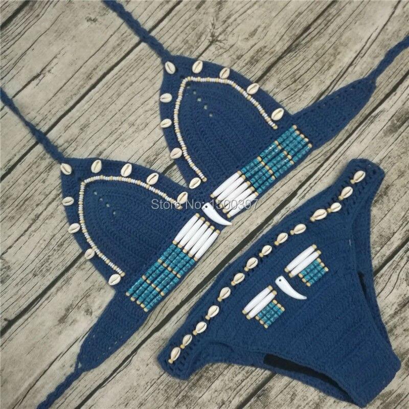 2017 крючком купальник дизайн оболочки Вязание купальники завернутый груди женщин Бандаж бикини комплект пуш-ап biquini купальный трикотажный sutis