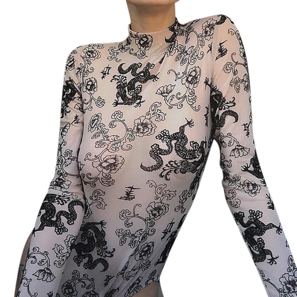 Women's Clothing Special Section Chamsgend Fashion Women Sexy Peony Dragon Print Long Sleeve Perspective Bodysuit Jumpsuits Feminino Rompers Jumpsuit C3019 Delicious In Taste