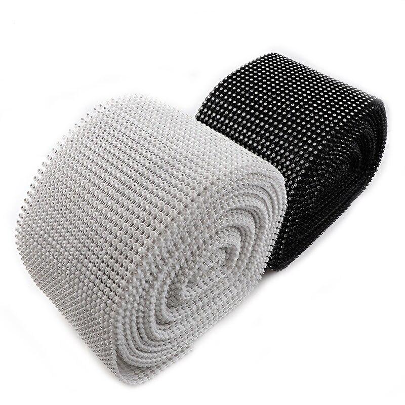 24 Rows 0.5 Yard 3mm Black/White Rhinestone Mesh Trim (With Rhinestone) ABS Plastic Sew On For DIY Craft Jewelry Decoration