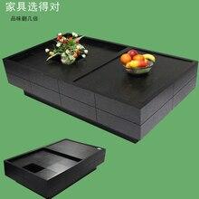Small apartment upscale black oak veneer JiuGongTu feature sliding glass coffee table storage teasideend