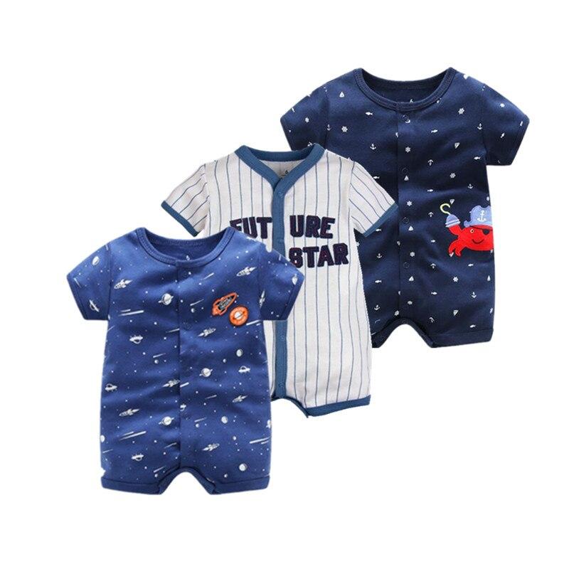 2018 летние шорты комбинезон с длинными рукавами для новорожденных Ползунки характер для маленьких мальчиков одежда и для маленьких девочек одежда для детей 0-24 ребенка комбинезон летний