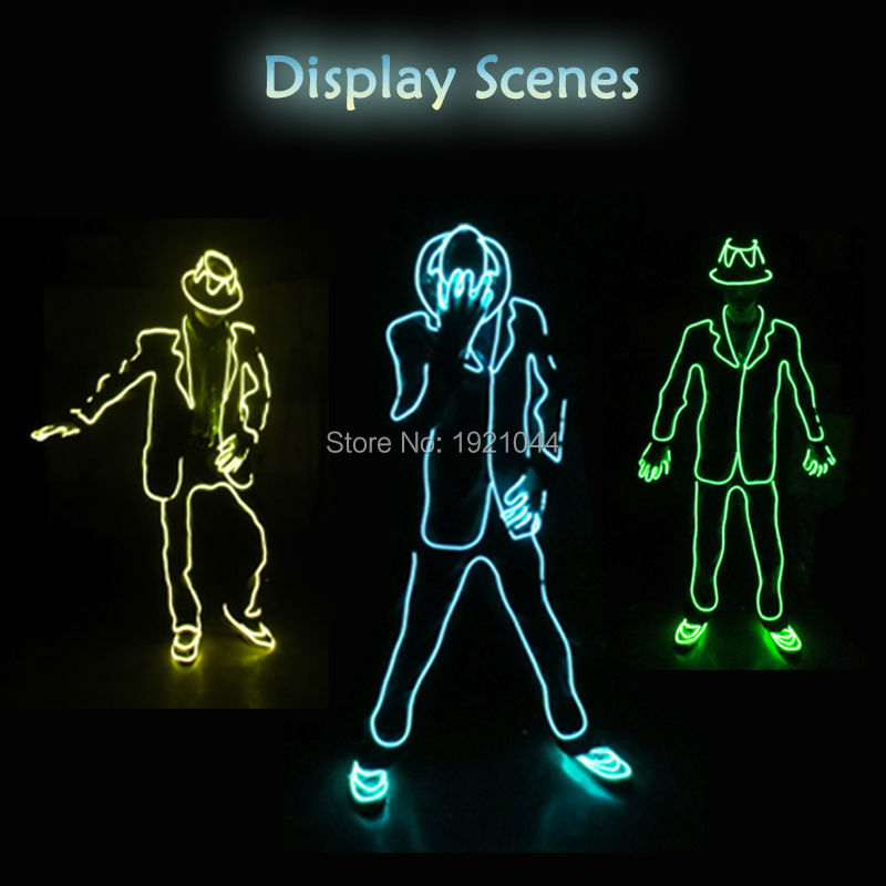 10 видов цветов Выберите неоновый свет EL провода для mj-мужчины стиль DIY фестиваль праздничная одежда аксессуары dc-12v кнопку EL драйвер