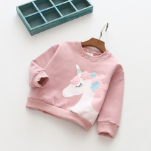 Winter Autumn New Children Thick Long Sleeve Cotton Hoodie Casual Unicorn for Girls Boys Kids Pink Gray Dark Green