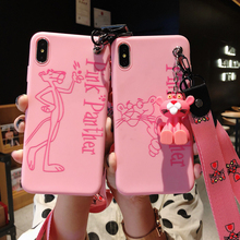 Cute Cartoon Silicone Case For iphone 6  XR XS 7With Air bag Stand holder Pink Mobile Case For iphone X MAX 8 Plus With Lanyard