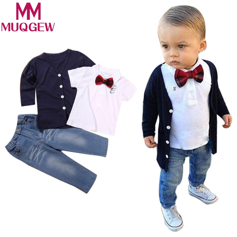 1Set Kids Baby Boys Long Sleeve T-Shirt Tops+Coat+Pants Clothes Outfits Boys jackets t shirt jeans 3 piece set new 2015 autumn winter fashion baby kids boys long sleeve shirt jeans denim trousers set outfits 1 6y