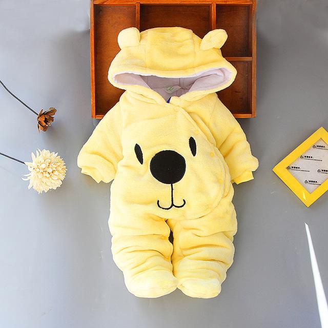 Baby's Cartoon Bear Style Hooded Romper
