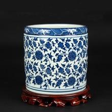 Китайский античный синий и белый ручной работы керамическая ручка контейнер для учебы