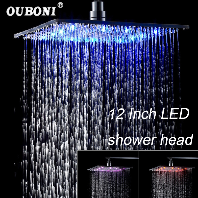 OUBONI 12 Inch Chrome Polish Rain LED Shower Head Temperature Light Ceiling Mount Stainless Steel Square Sprayer ydl bd005 1 16 temperature control 24 led rgb light 304 stainless steel square shower head silver