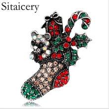 Sitaicery Christmas Socks Badges Crystal Brooch Vintage Cute Pins Kawaii Jewelry Luxury For Women Gifts Merry