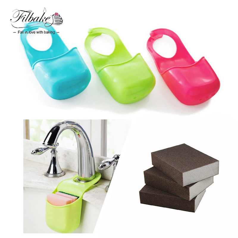 FILBAKE 2PCS PVC Plastic Storage Box Holder Sink Organizer Basket And Brown Kitchen Pot Descaling Clean Sponge Removing Rust