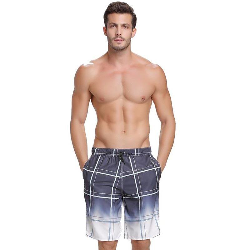 2018 Surf Board Beach Shorts Quick Dry Men Swim Bathing Suit Trunks Drawstring Swimwear Swimsuit Sportswear Sports Pants Plaid