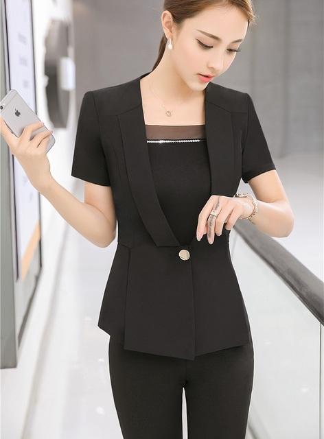 Novidade Preto Pantsuits Formais Fino Moda Para Senhoras de Escritório Mulheres de Negócio Trabalho Desgaste Blazers Conjuntos Calças Calças Femininas Ternos