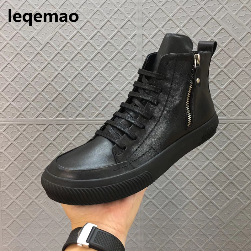 New Men Boots Arrival Shoes Basic High-TOP Ankle Genuine Leather Luxury Trainers Owen Boots Casual Lace-up Zip Flats Shoes Black new fashion men luxury brand casual shoes men non slip breathable genuine leather casual shoes ankle boots zapatos hombre 3s88