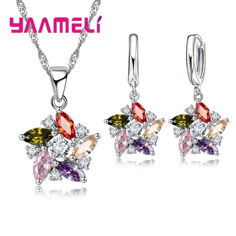 925 Sterling Silver Pendant Necklace Earrings Romantic Ethnic Style Windmill Shape Colorful/White Crystal Stone For Girl
