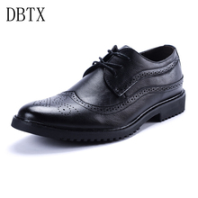 Men Oxfords Shoes British casual Style Dress Leather Shoe Brown Brogue Shoes Lace-Up Bullock Business Zapatos Hombre 324