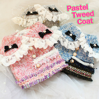 Free shipping high quality elegant C style pastel tweed baby lace collar winter short vest coat dog clothes so warm fashion