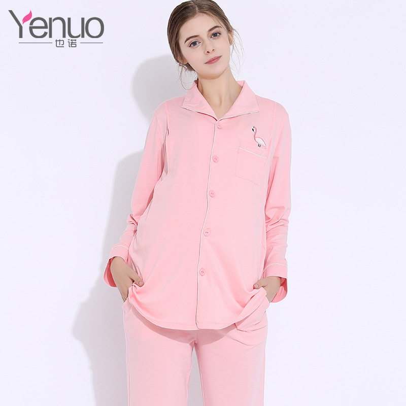 Long Slevees Cotton 2 Pieces Maternity Clothes Maternity Sleepwear Breastfeeding Sleepwear Nursing Pajamas Pregnant Women Lounge