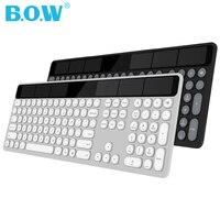 B.O.W Solar Rechargeable keyboard(110 Keys), 2.4Ghz Wireless Automatic charging keyboard Thin keyboard for Computer /Laptop