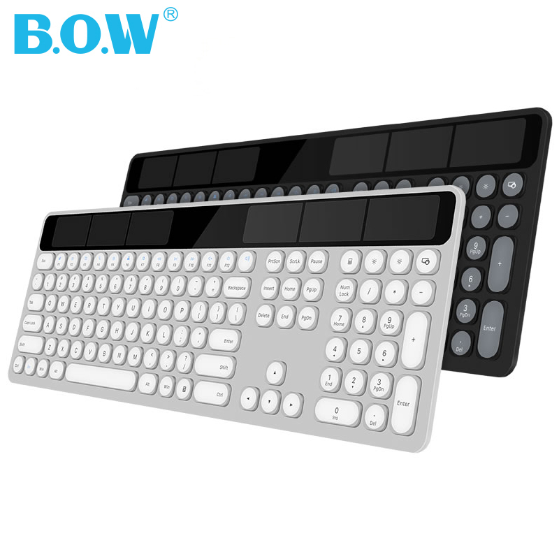 B.O.W Solar Rechargeable Keyboard(110 Keys), 2.4Ghz Wireless Automatic Charging Keyboard Thin Keyboard For Computer /Laptop