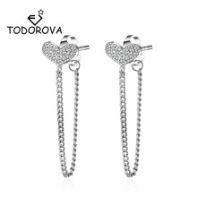 Todorova Korean New Fashion Bijoux Sweet Love Heart Stud Earrings for Women Shiny Cubic Zircon Long Chain Tassel