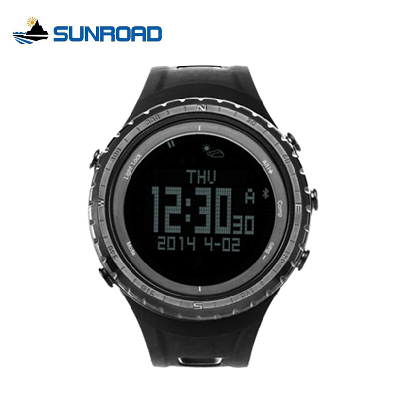 SUNROAD Bluetooth 4.0 Smart Watch 50M Waterproof Pedometer Thermometer Compass Outdoor Sports Wrist Watches for Android IOS 803 u80 smart watch with pedometer function
