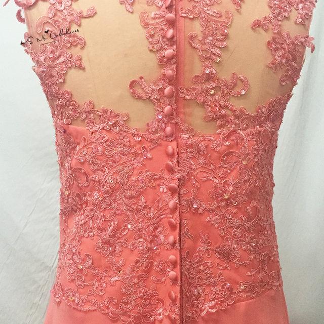 Elegante Coral Peach Madre de la novia Encaje Vestidos más tamaño largo madrina vestido para bodas de playa fiesta de noche de gasa