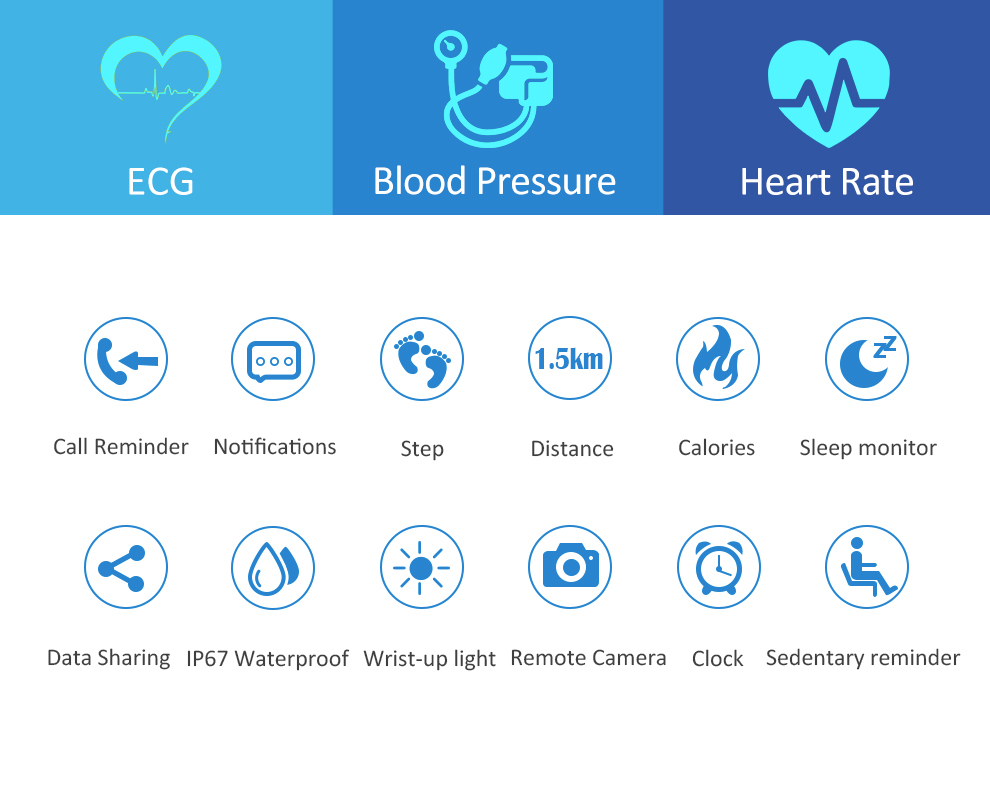 CK12 graphene smart watch ECG heart rate blood pressure sleep monitoring smart wristbands for android ios pedometer sport watch 4