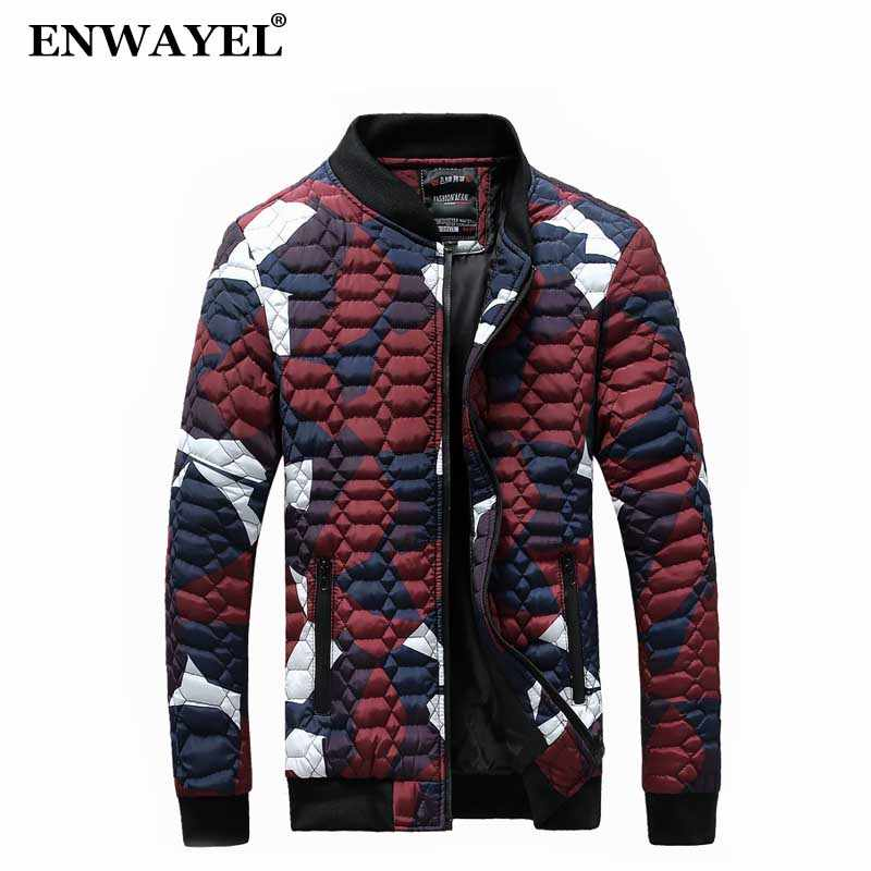 ENWAYEL 2018 Autumn Winter Camouflage Jacket Men Parka Quilted Padded Wadded Windbreaker Male Mens Jackets Coat Parkas Overcoat