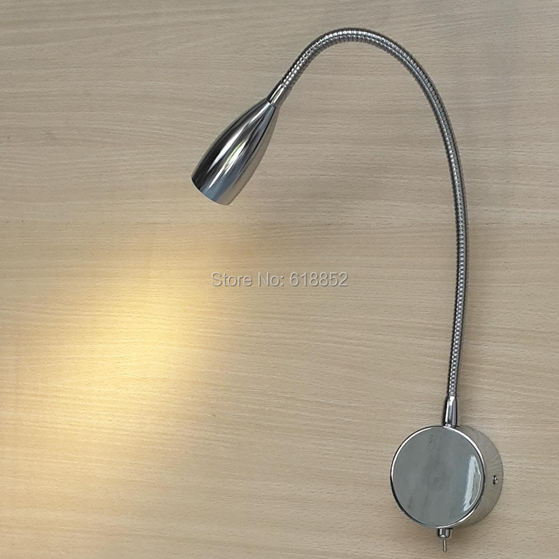 Topoch 2x LED Reading Lamp for Bed with Switch On/Off Hard Wired Minimalist 3W CREE LED 200LM Ra>85 Flexible neck 14.2 inches topoch minimalist gooseneck reading lamp for bed polished chrome finish 3w led cree 200lm hose adapative ac100 240v dc12v 24v