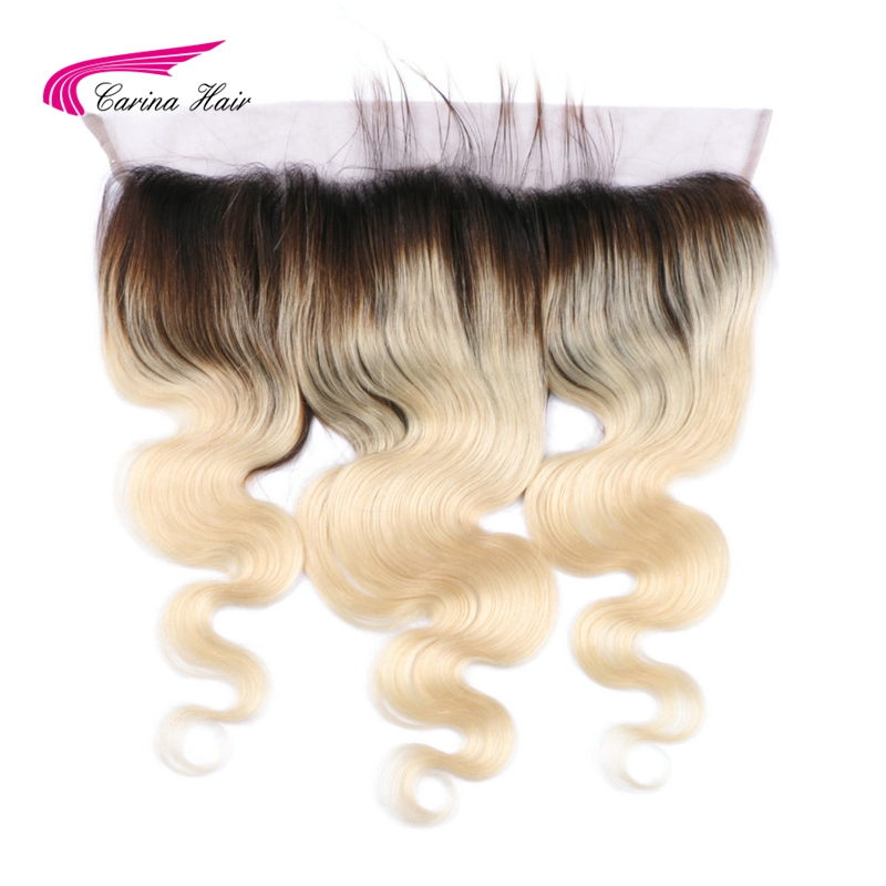 Carina Hair Brazilian Remy Human Hair Ombre 1b 613 Blonde 13 4 Lace Frontal Closure Ear